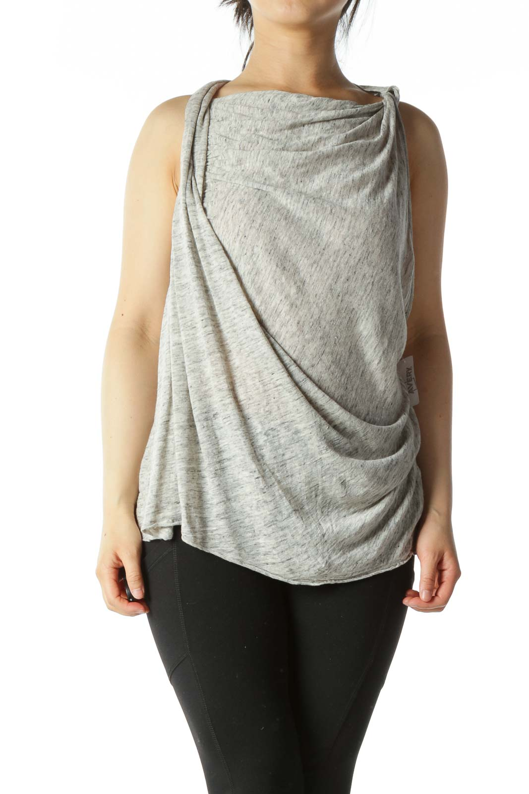 Heather Grey Cowl-Neck Draped Sleeveless Top
