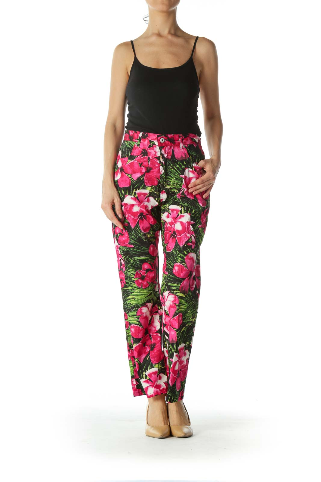 Pink and Green Floral Print Ankle Cut Pant