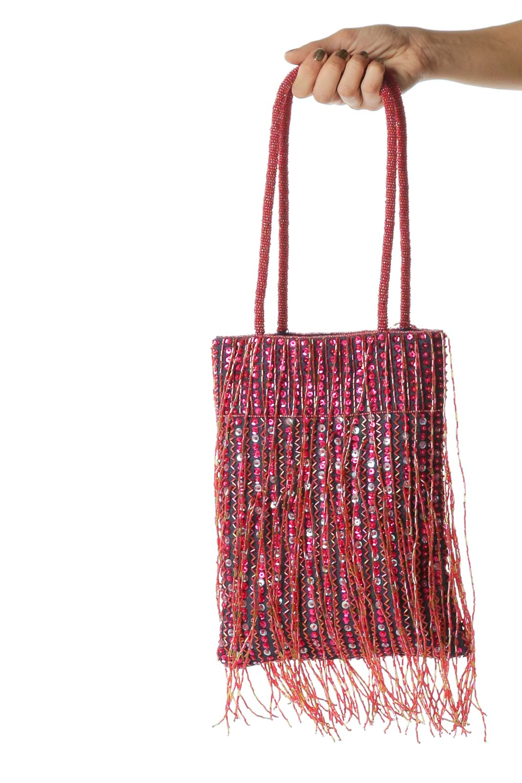 Pink and Orange Beaded Sequined Fringe Bucket Bag