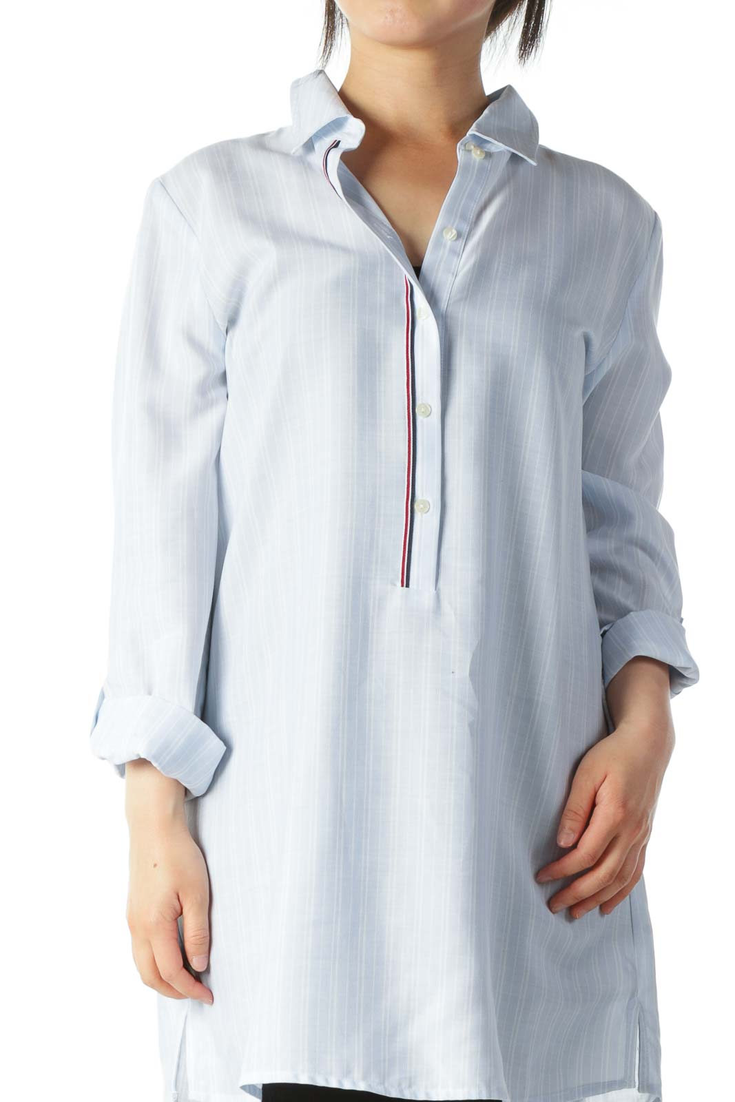 Light Blue White-Stripes Light-Weight Shirt Dress
