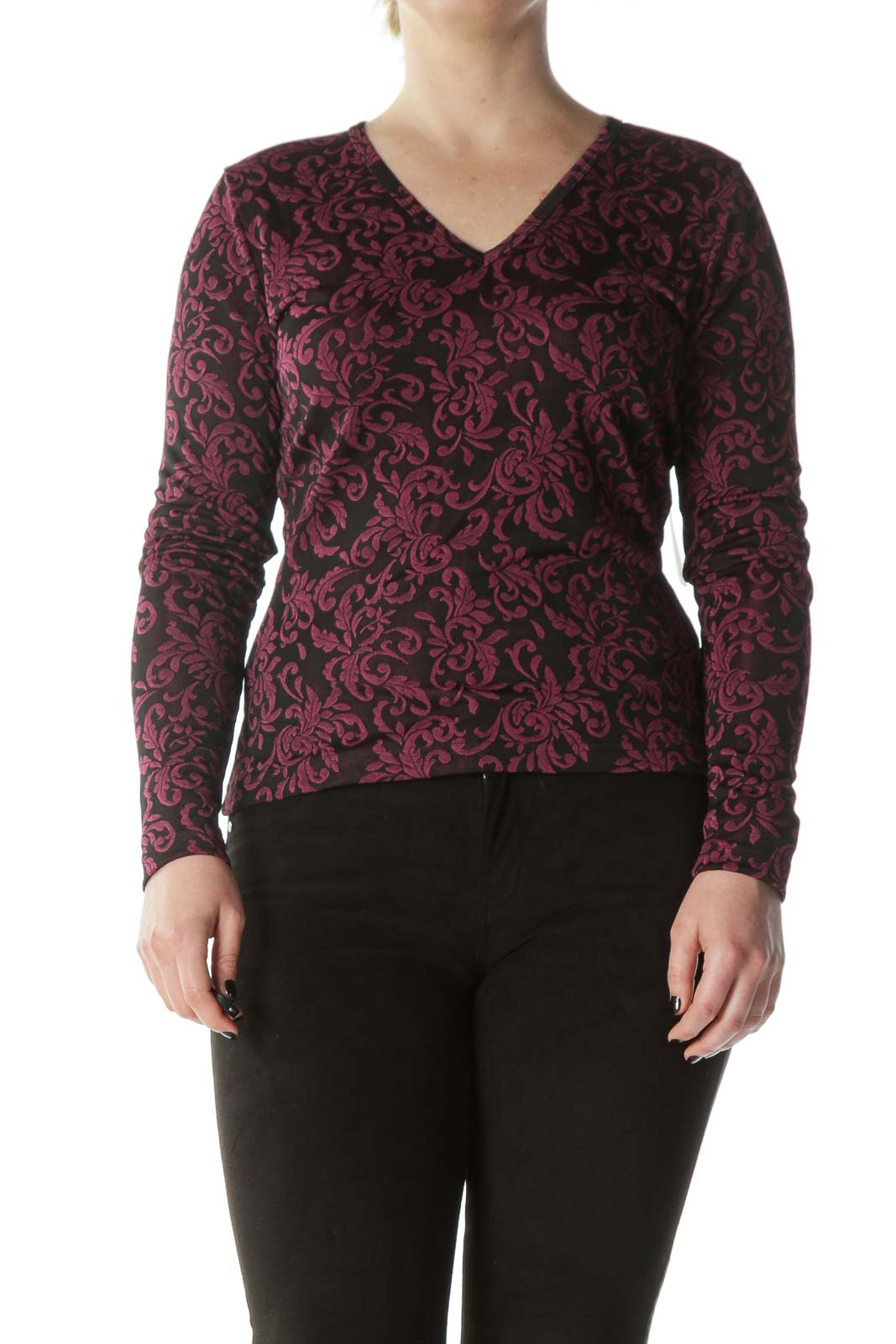 Black Purple Textured-Print V-Neck Top