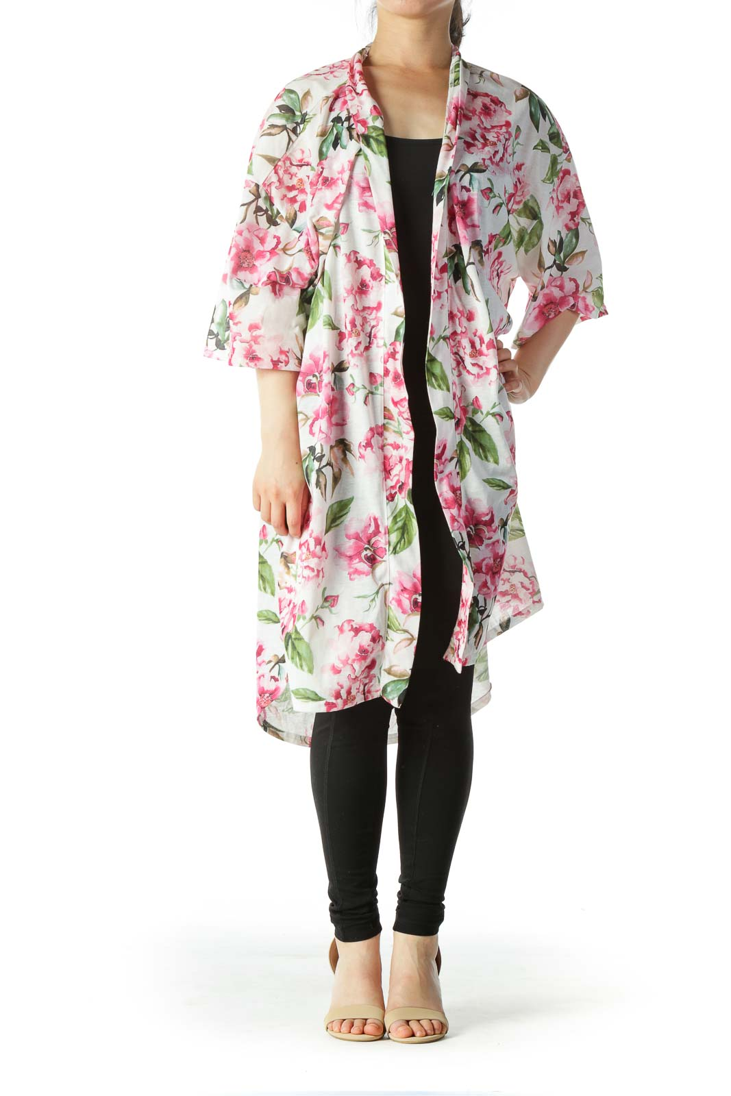 Multicolored Pink-Floral-Print Short-Sleeve Cardigan