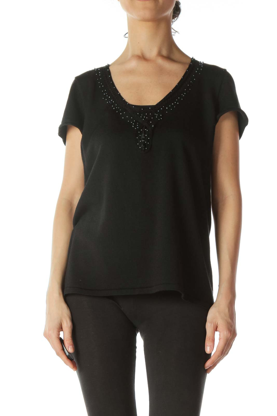 Black Neckline-Embellishment Stretch Textured Top
