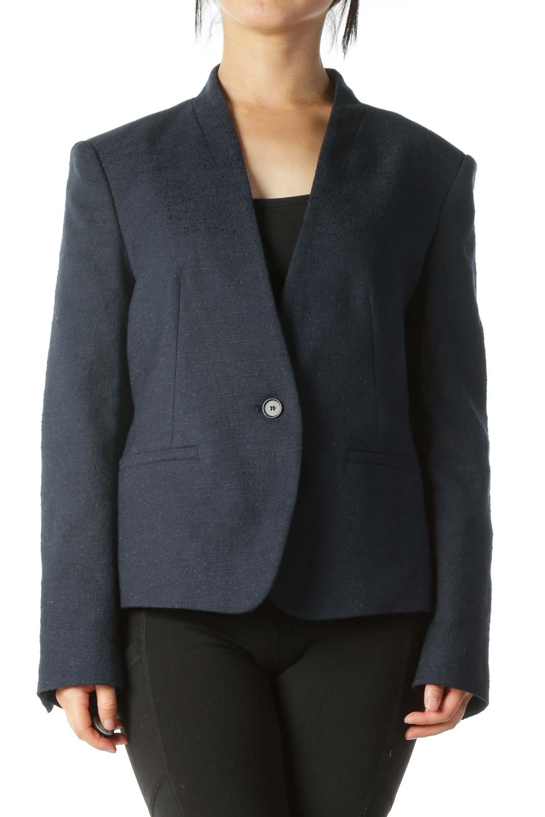 Blue Textured Buttoned Blazer