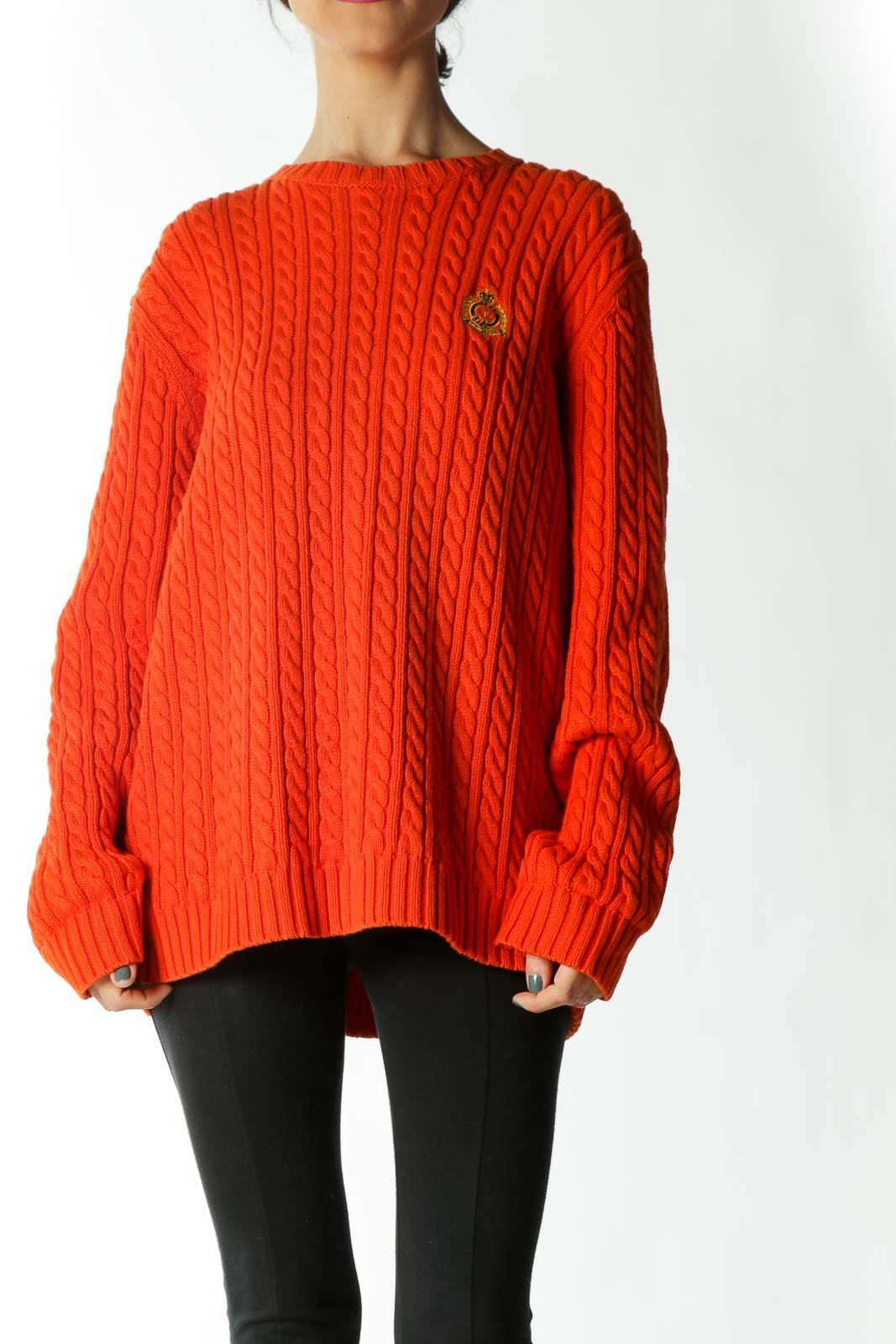 Orange Cable Knit Crest Crew-Neck Sweater