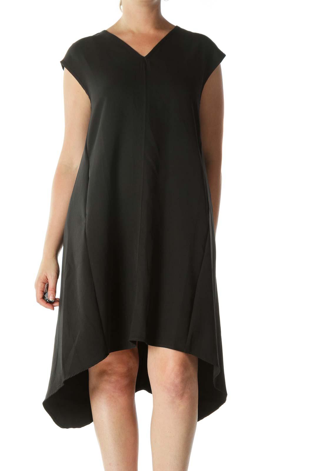 Black V-Neck Sleeveless Pocketed Day Dress