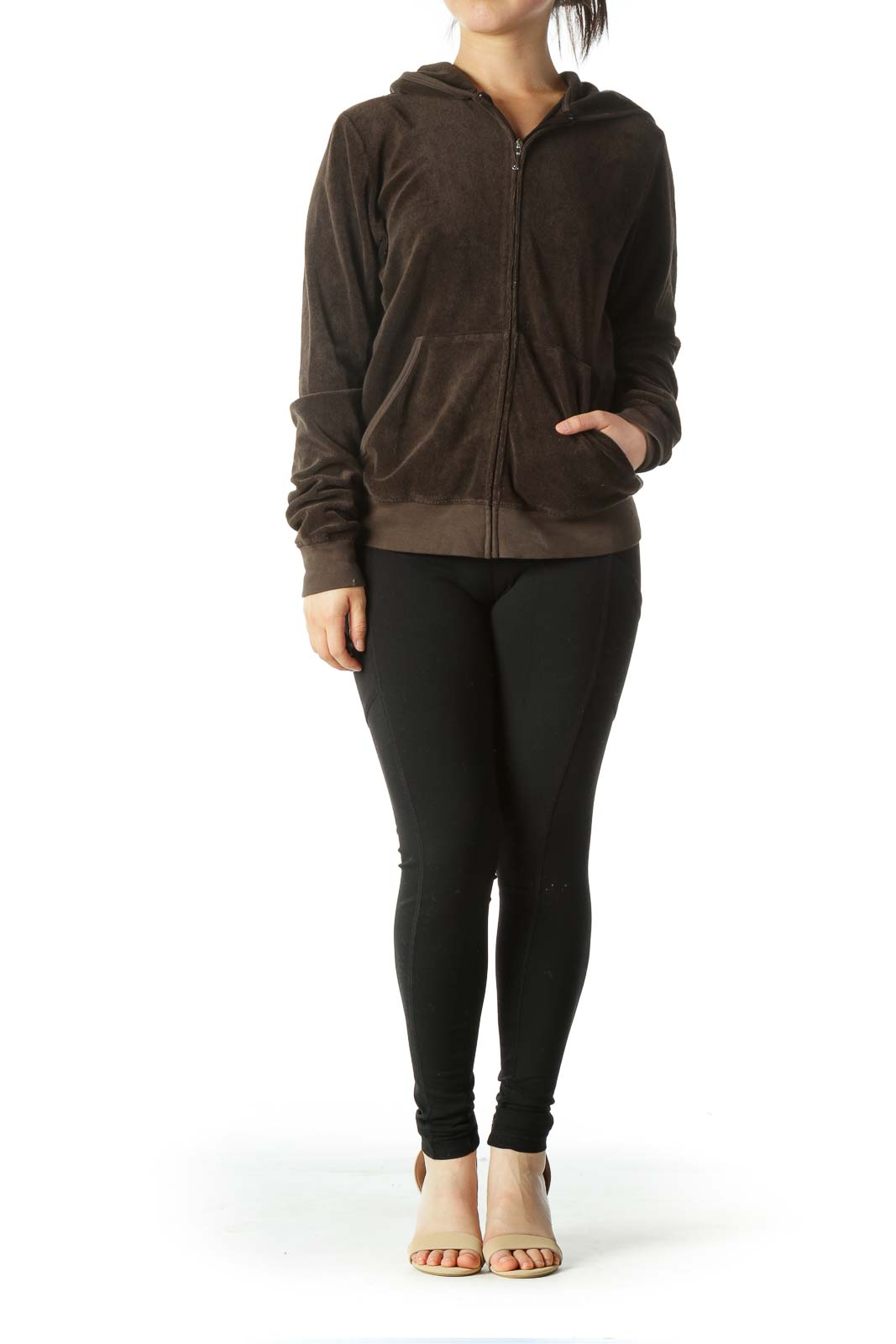 Brown Hooded Pocketed Jacker