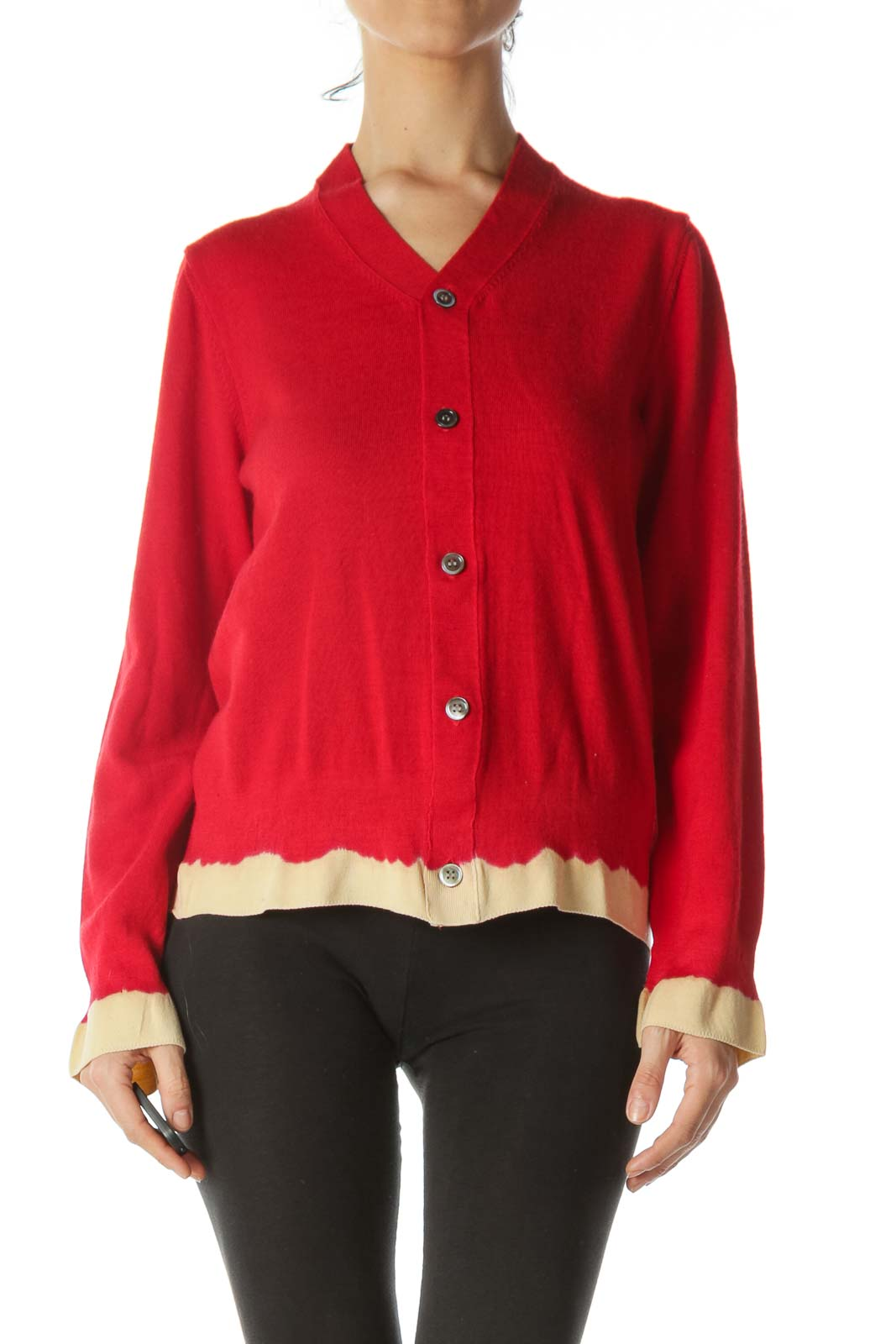 Red Beige-Sleeves Designer Buttoned Sweater - Small Hole in Fabric
