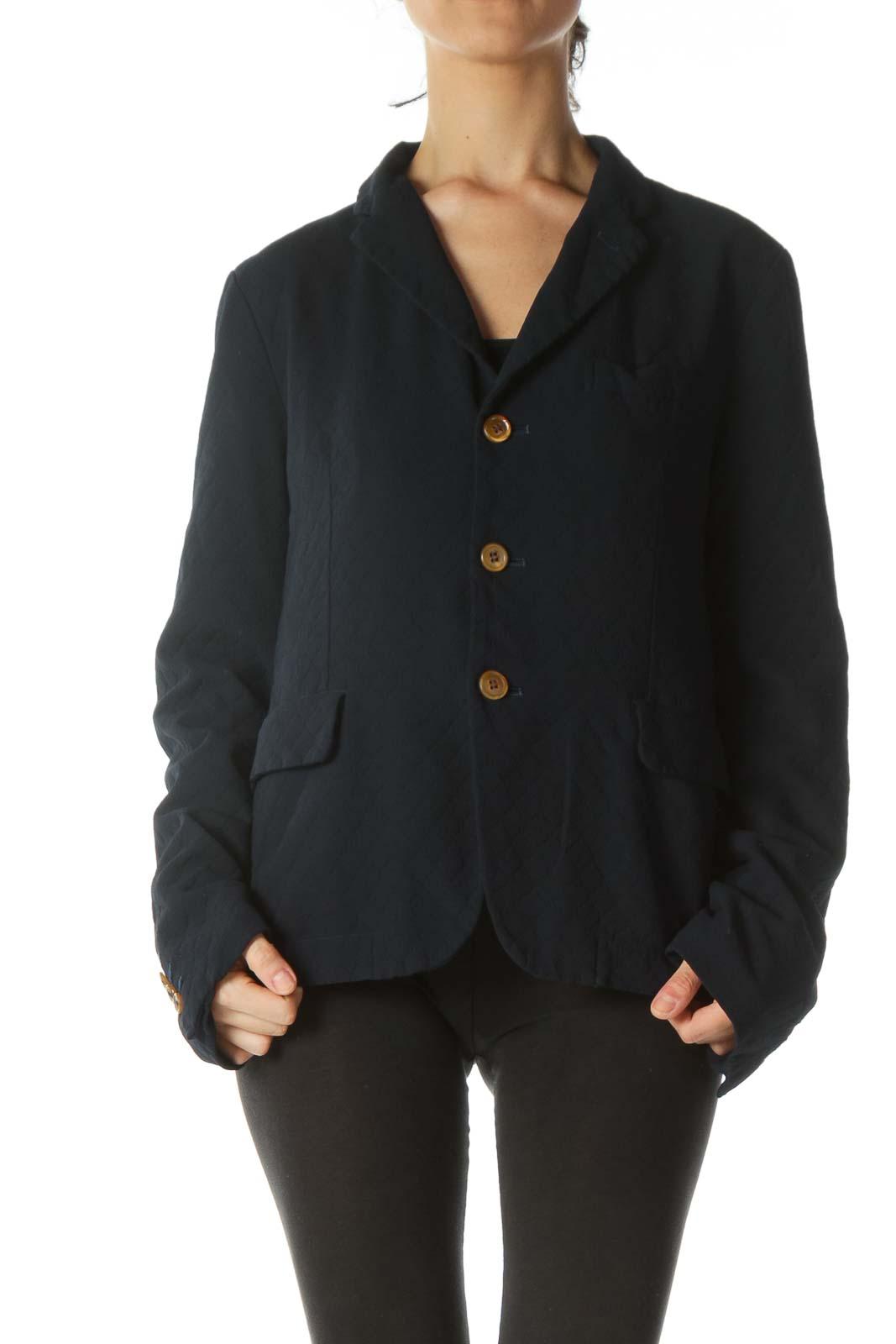 Blue Lace-Vest Textured Blazer