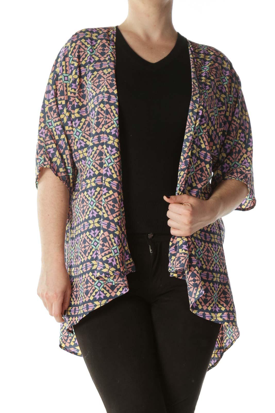 Multicolored Geometric-Print Kimono