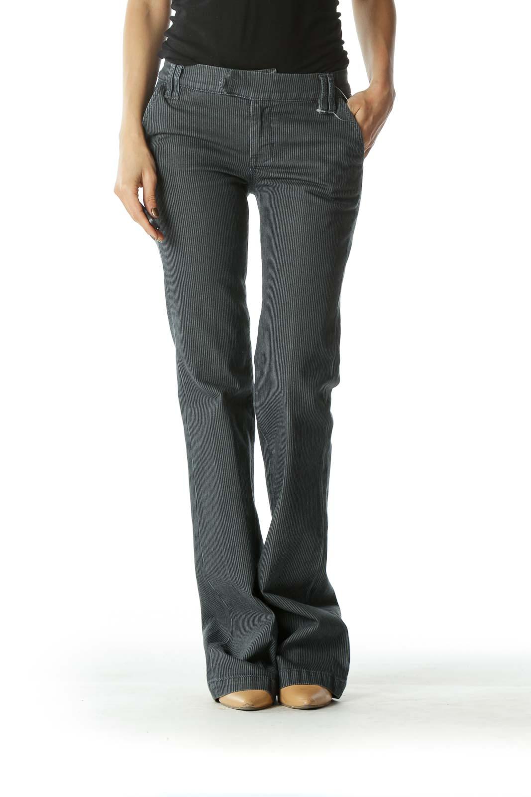 Gray Striped Wide Leg Denim