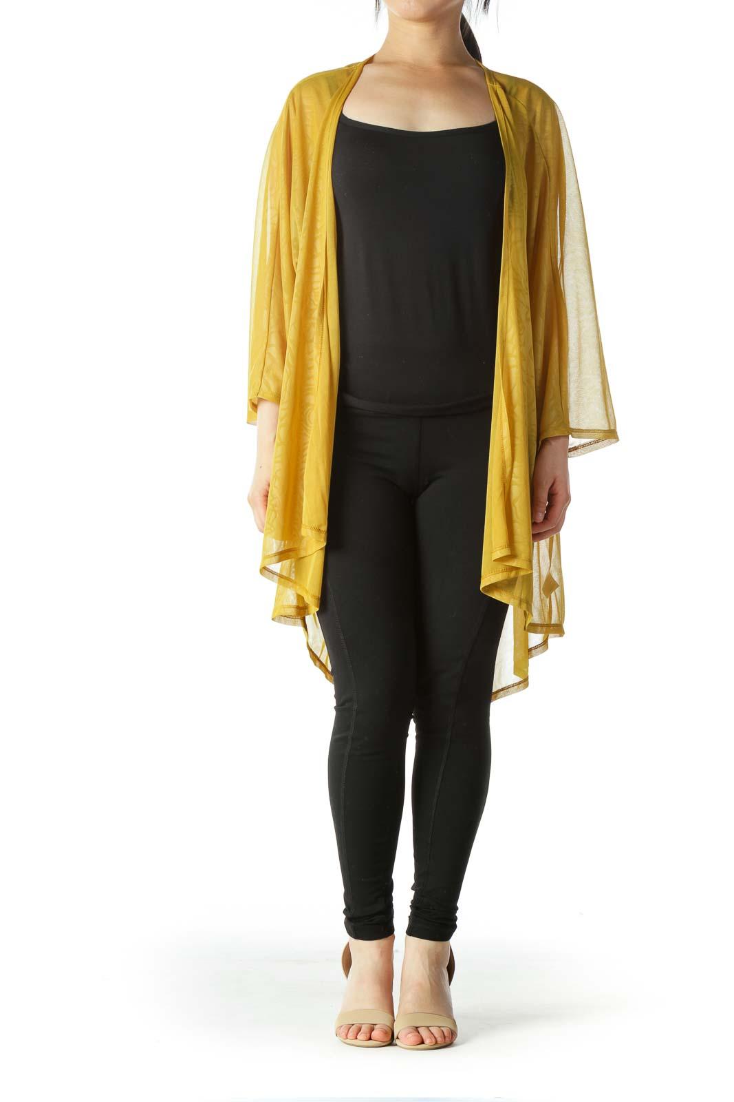 Yellow Jacquard Open Light-Weight Cardigan