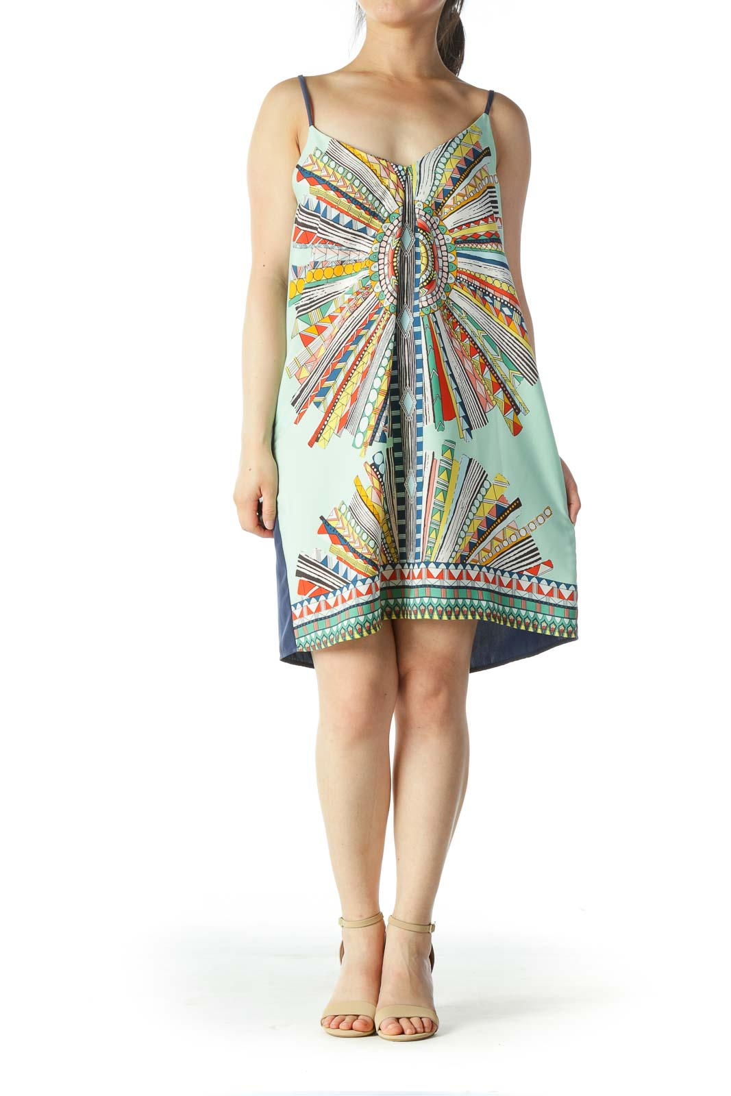 Multicolored V-Neck Halter-Knot Dress