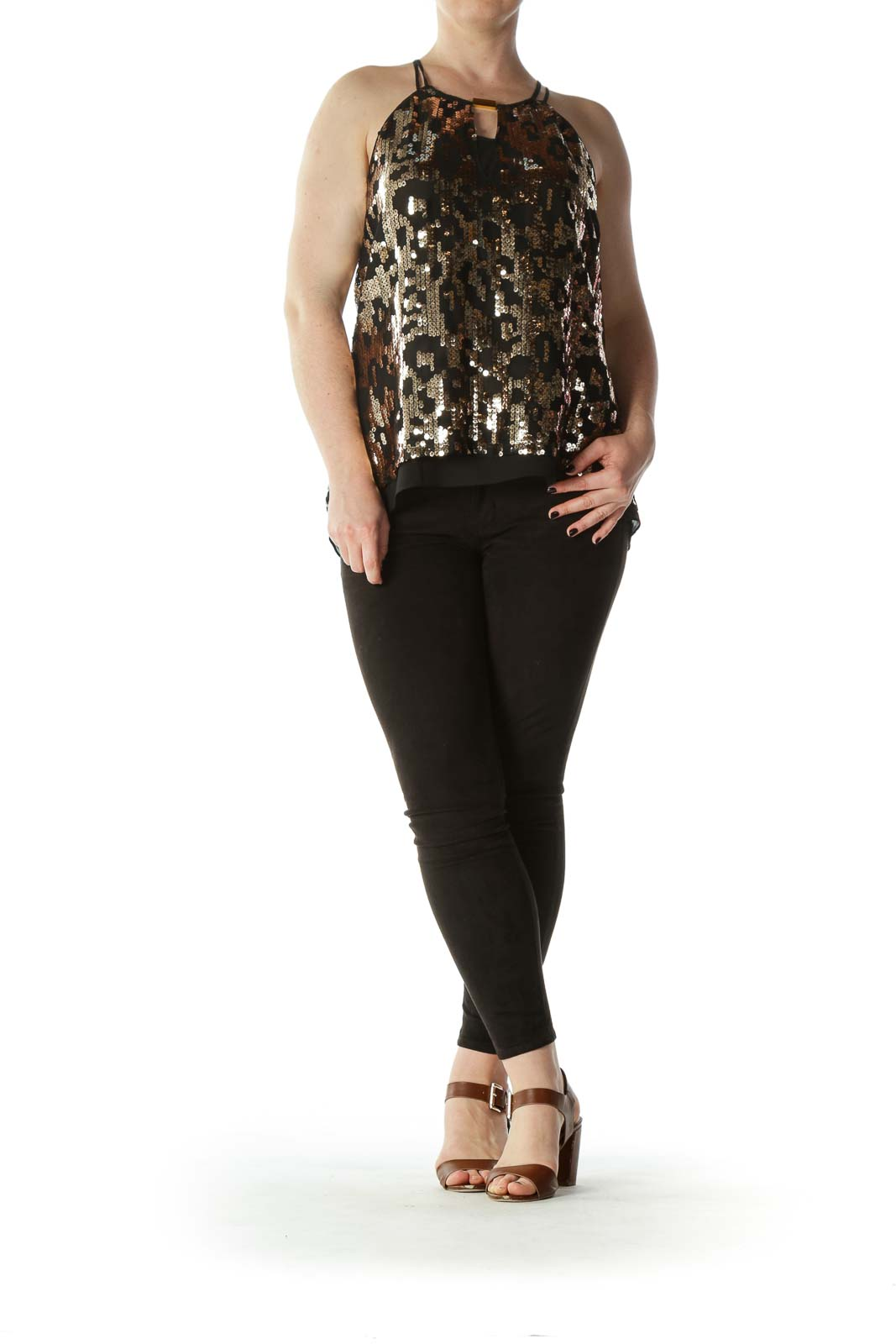 Black and Gold Sequined High-Neck Metal Keyhole Blouse