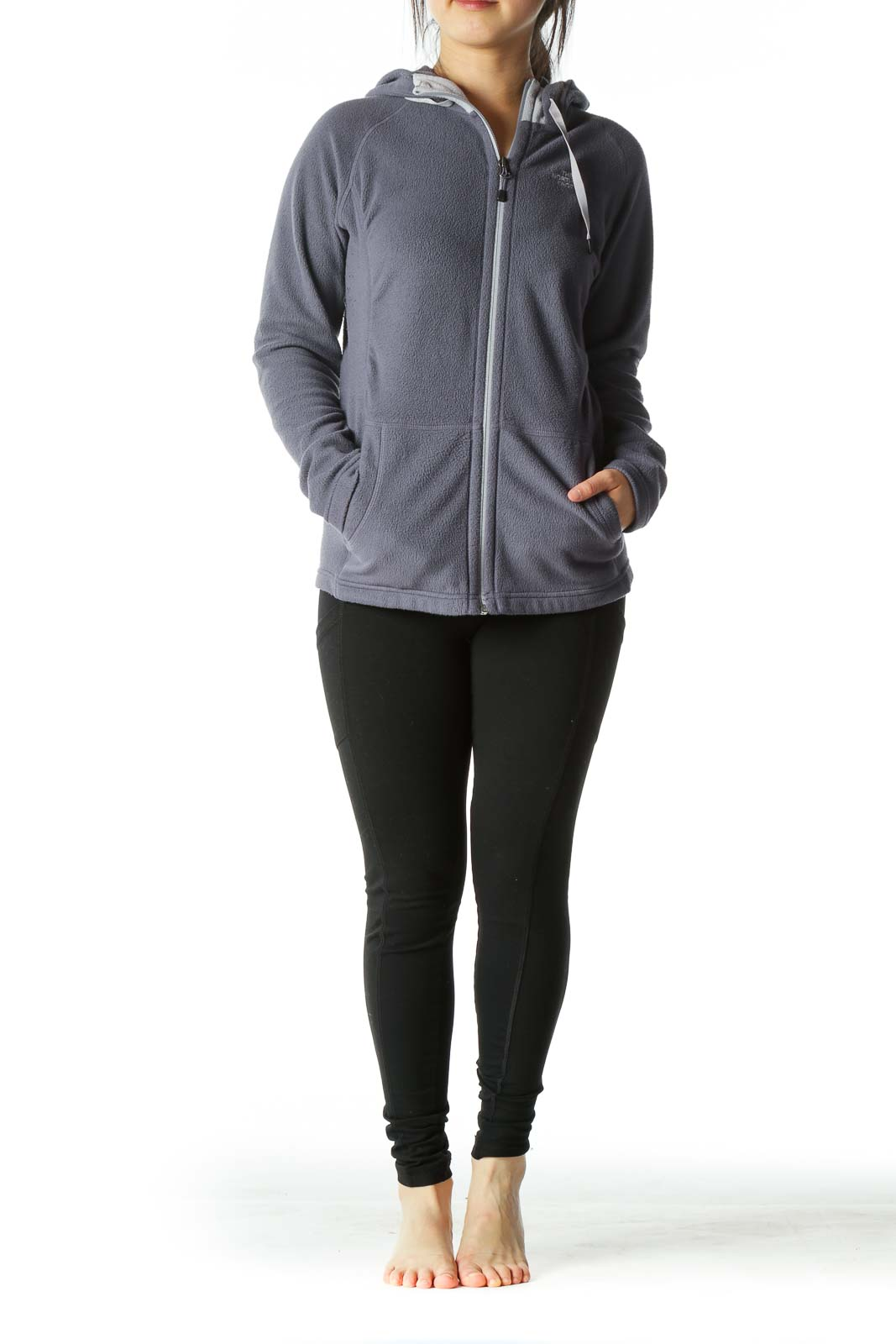 Gray Hooded Zippered Fleece Fitted Jacket