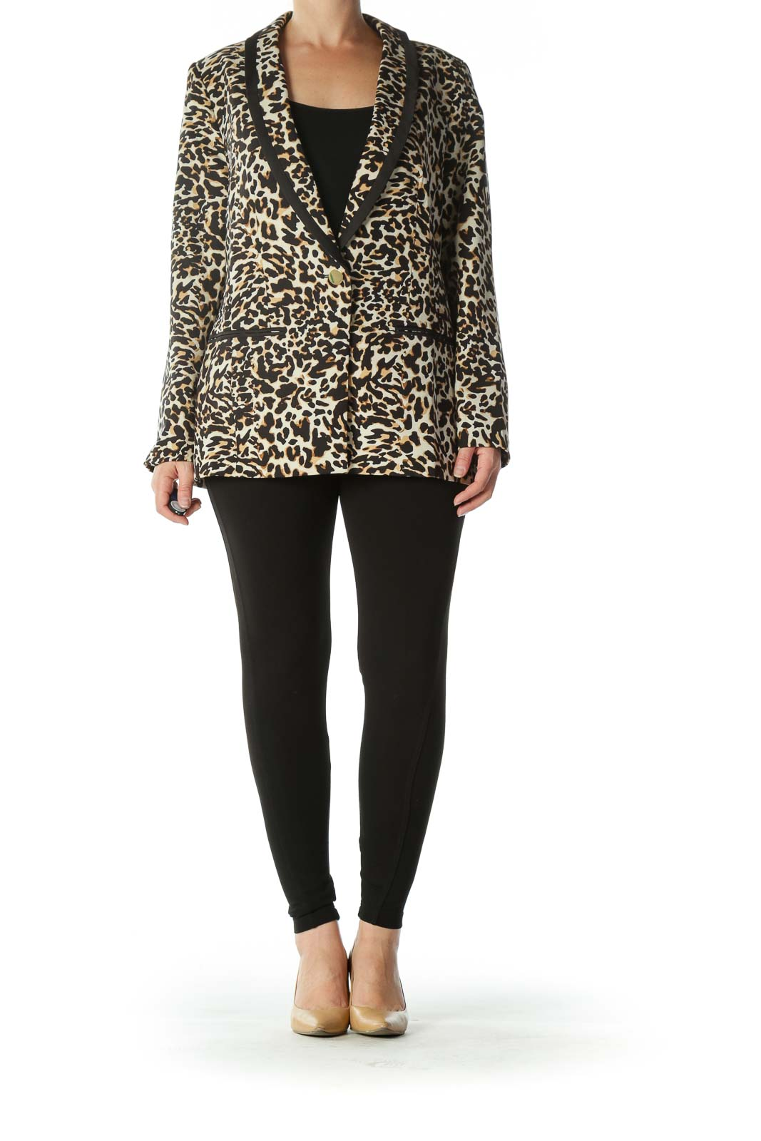 Black Brown Beige Leopard-Print Golden-Button Blazer