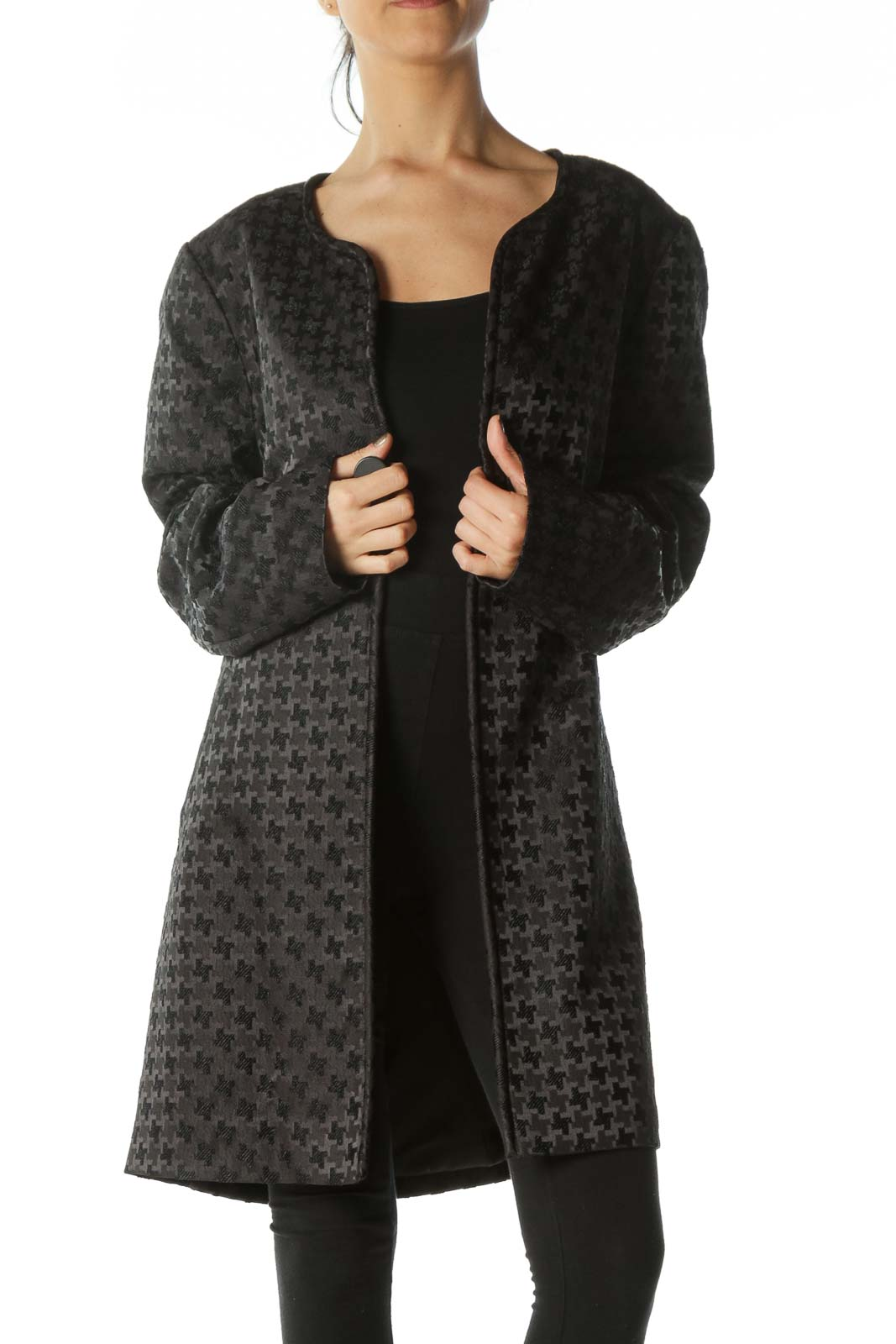 Black Embossed-Pattern Round-Neck Structured Coat