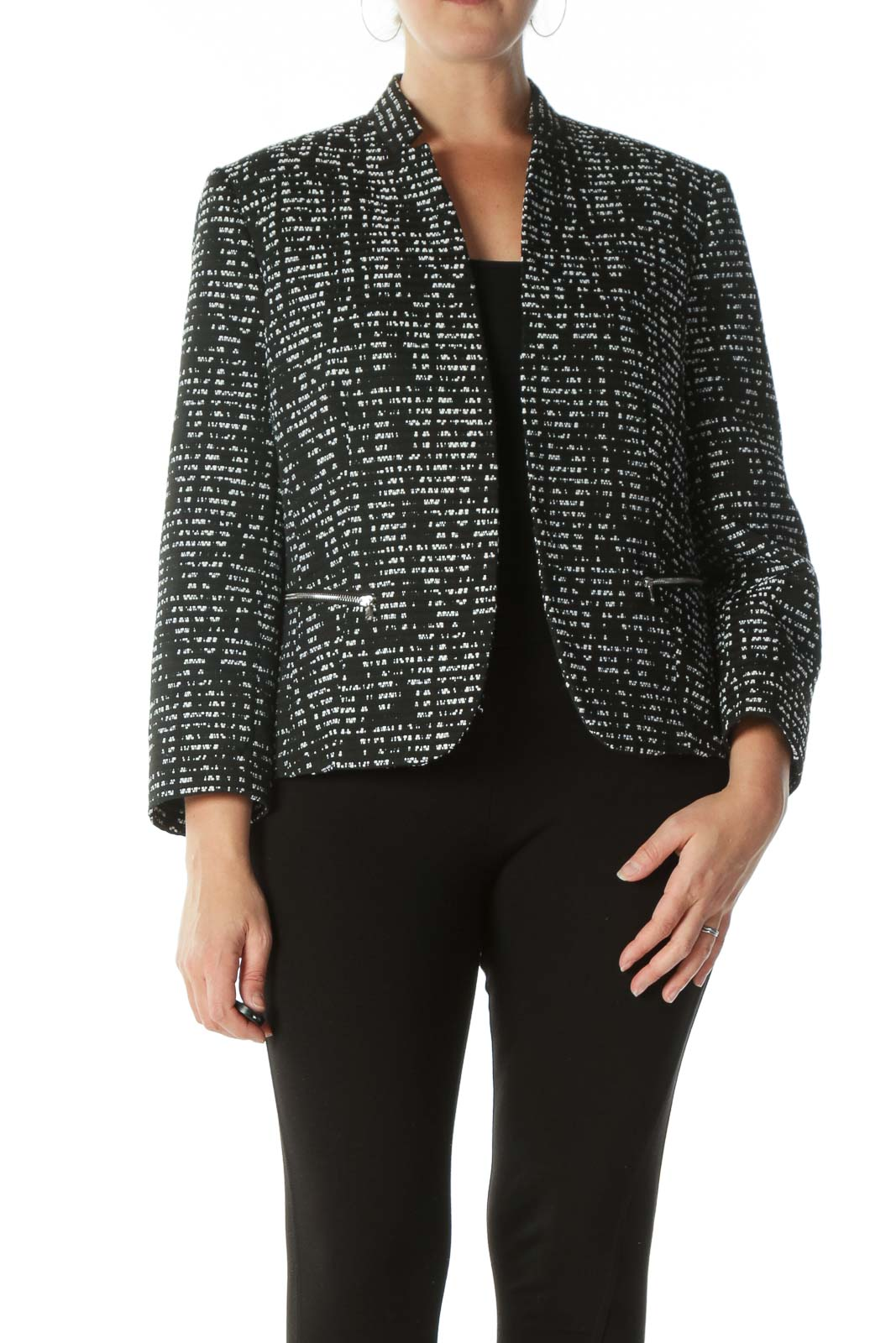 Black White Collared Zipper-Pockets Textured Blazer