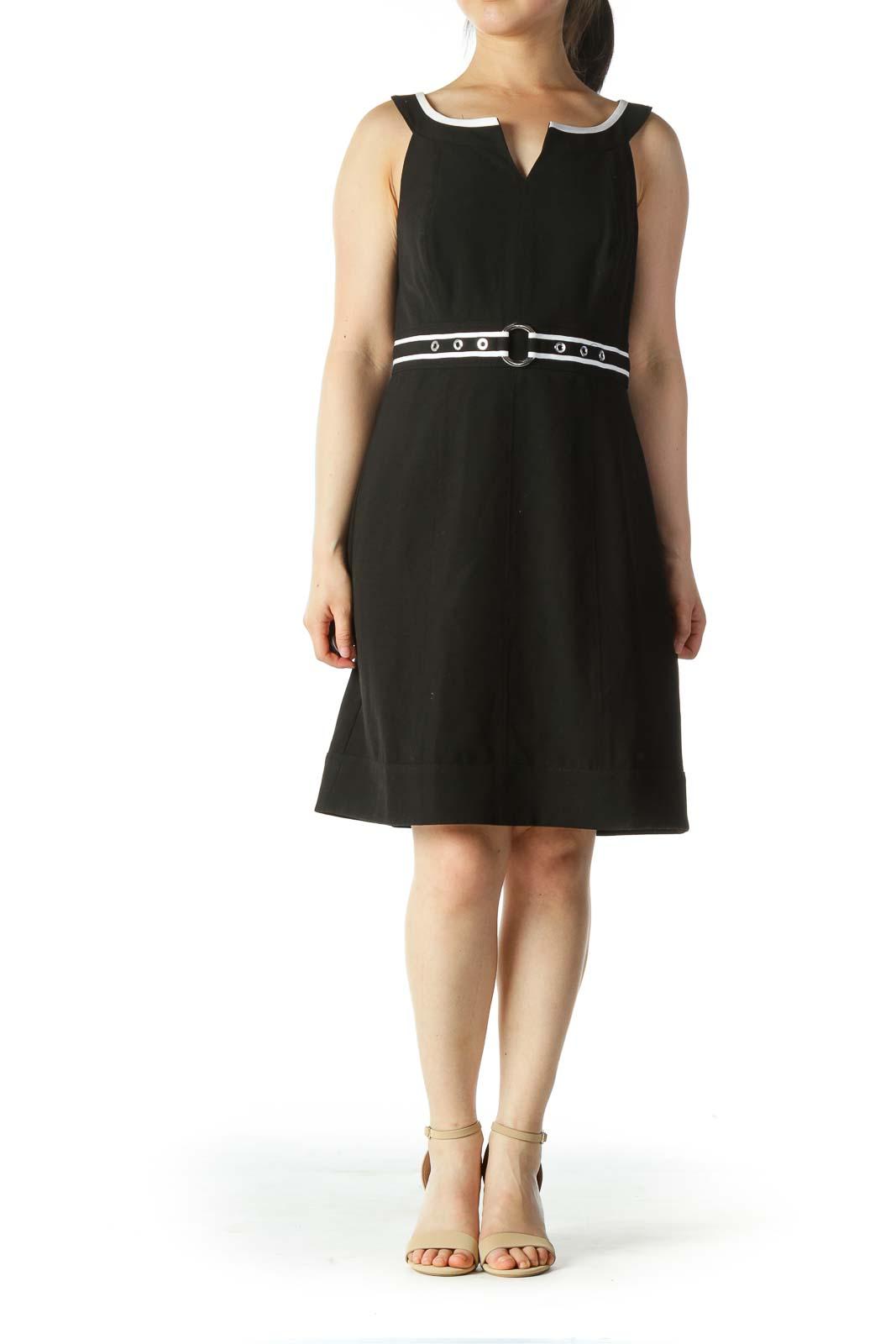 Black White Built-In Belt Work Dress