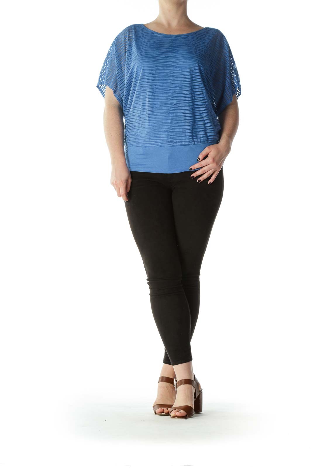 Blue Striped Translucent Over-Sized Bat-Sleeve Tee