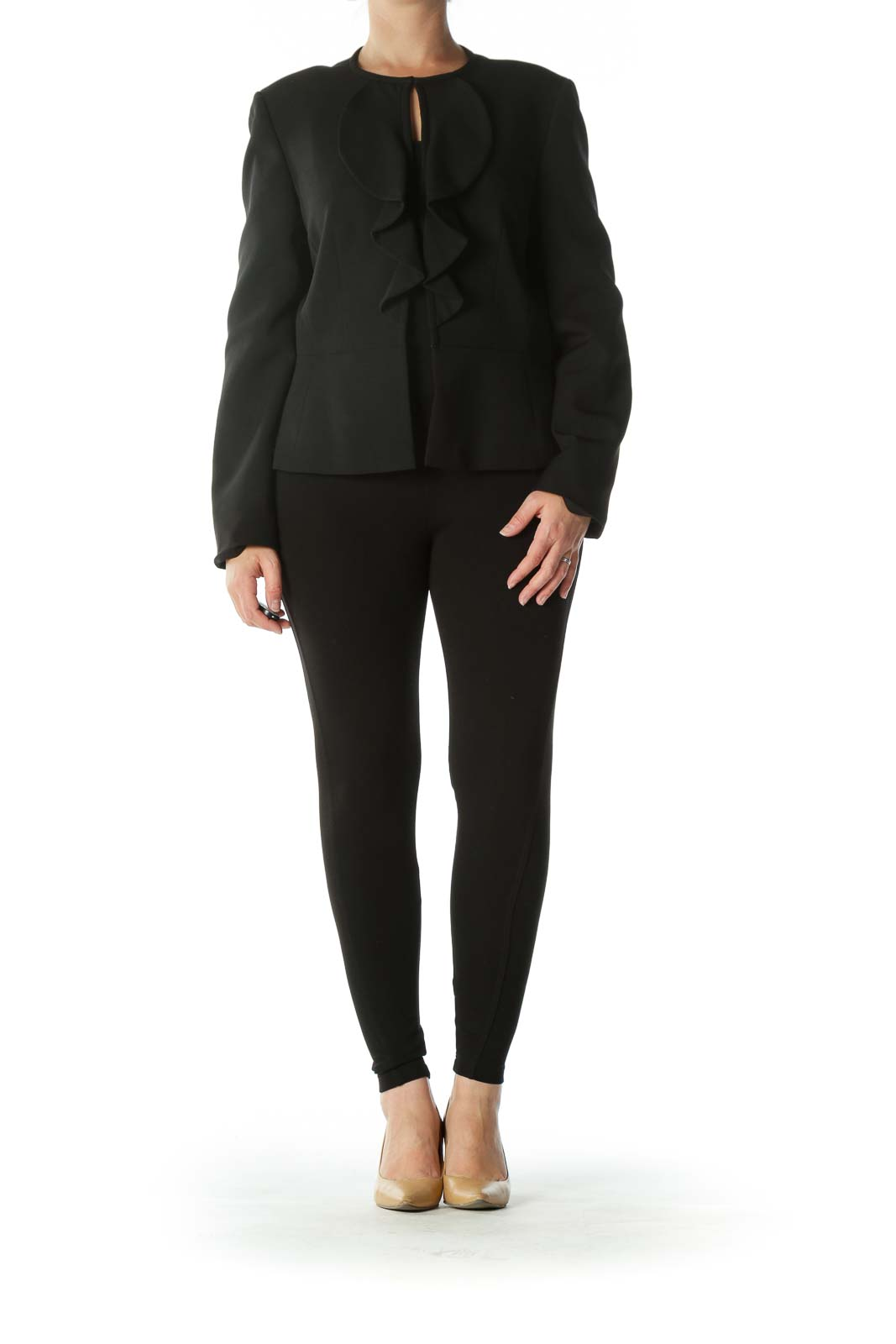 Black Hooks-Closure Ruffled Blazer