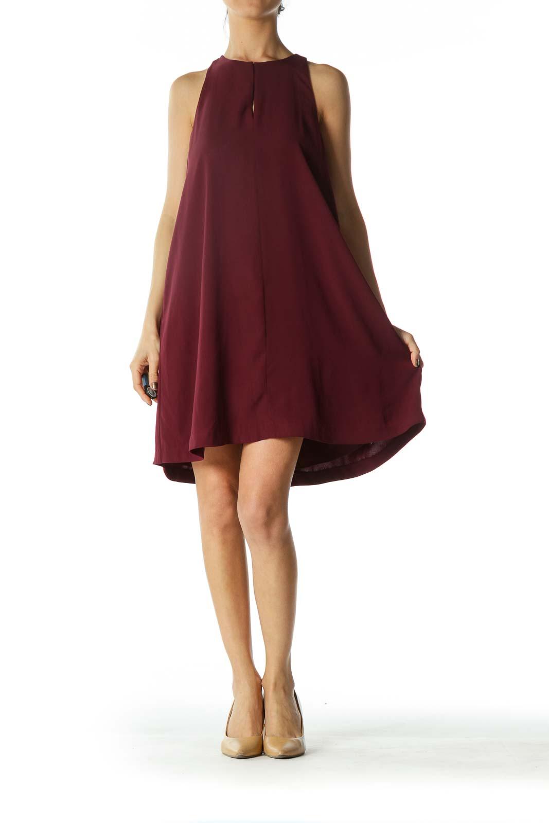 Burgundy High-Neck Keyhole Cocktail Dress