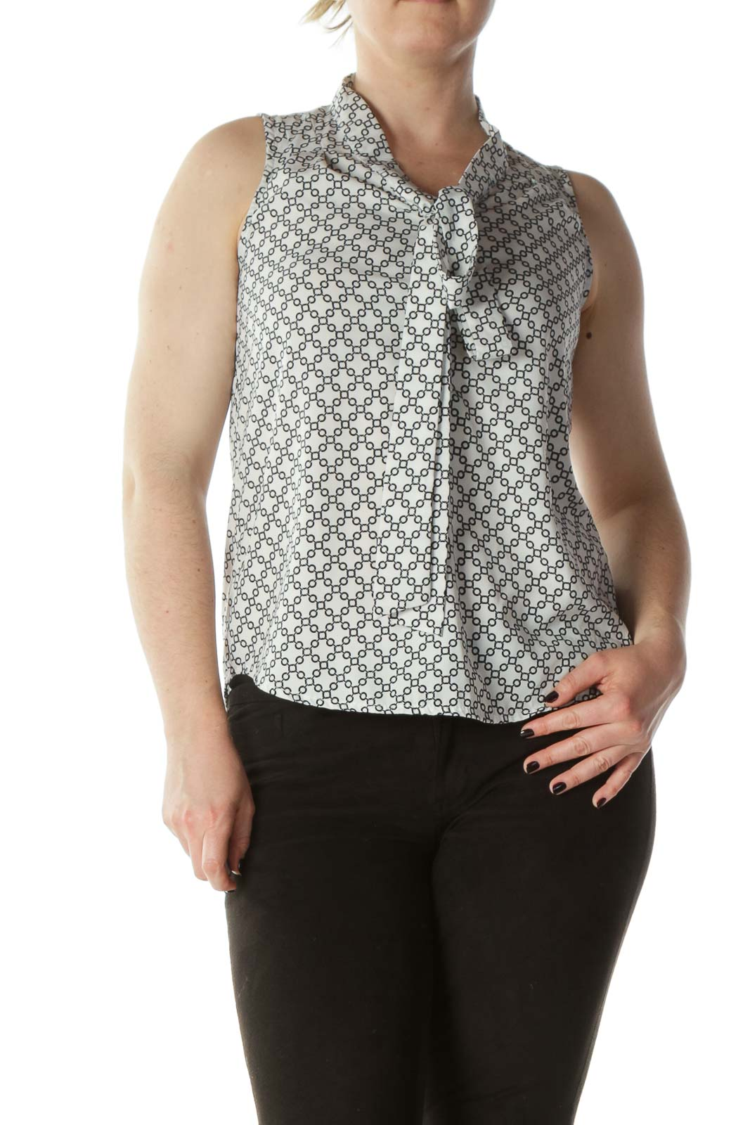 White and Black Chain Patterned Sleeveless Blouse with Neck-Tie
