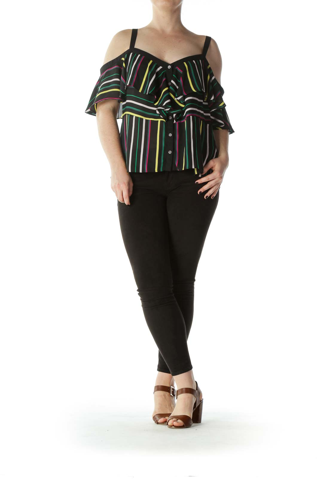 Black Multicolor-Striped Off-The-Shoulder Blouse with Spaghetti Straps