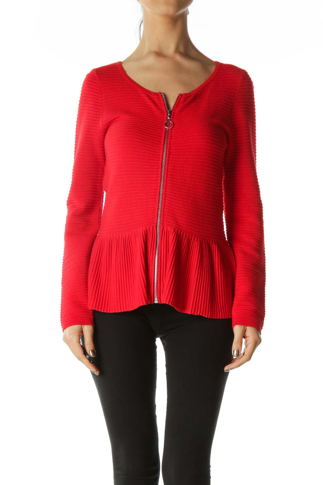 Red Zippered Round-Neck Peplum Knit Jacket