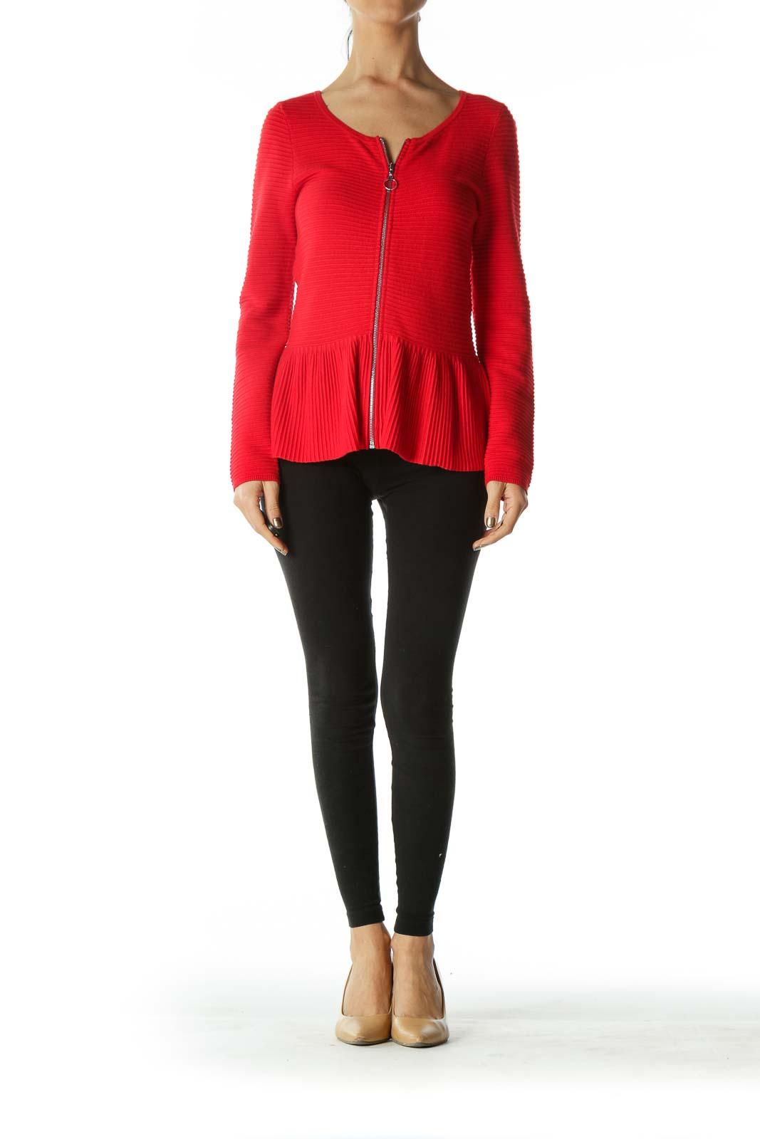 Red Zippered Round-Neck Peplum Knit Jacket