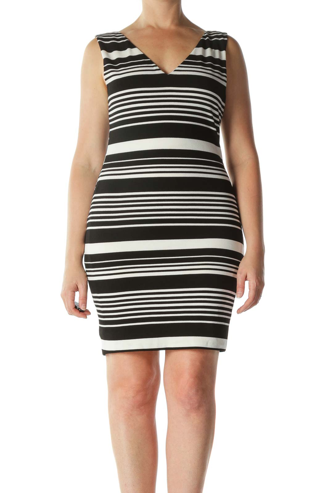 Black White Striped V-Neck Day Dress