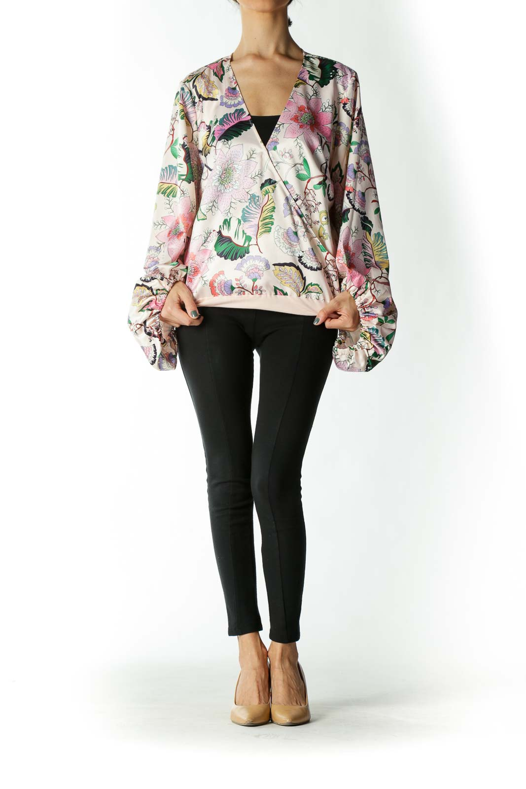 Pink Floral Peasant-Sleeve Body Suit Blouse