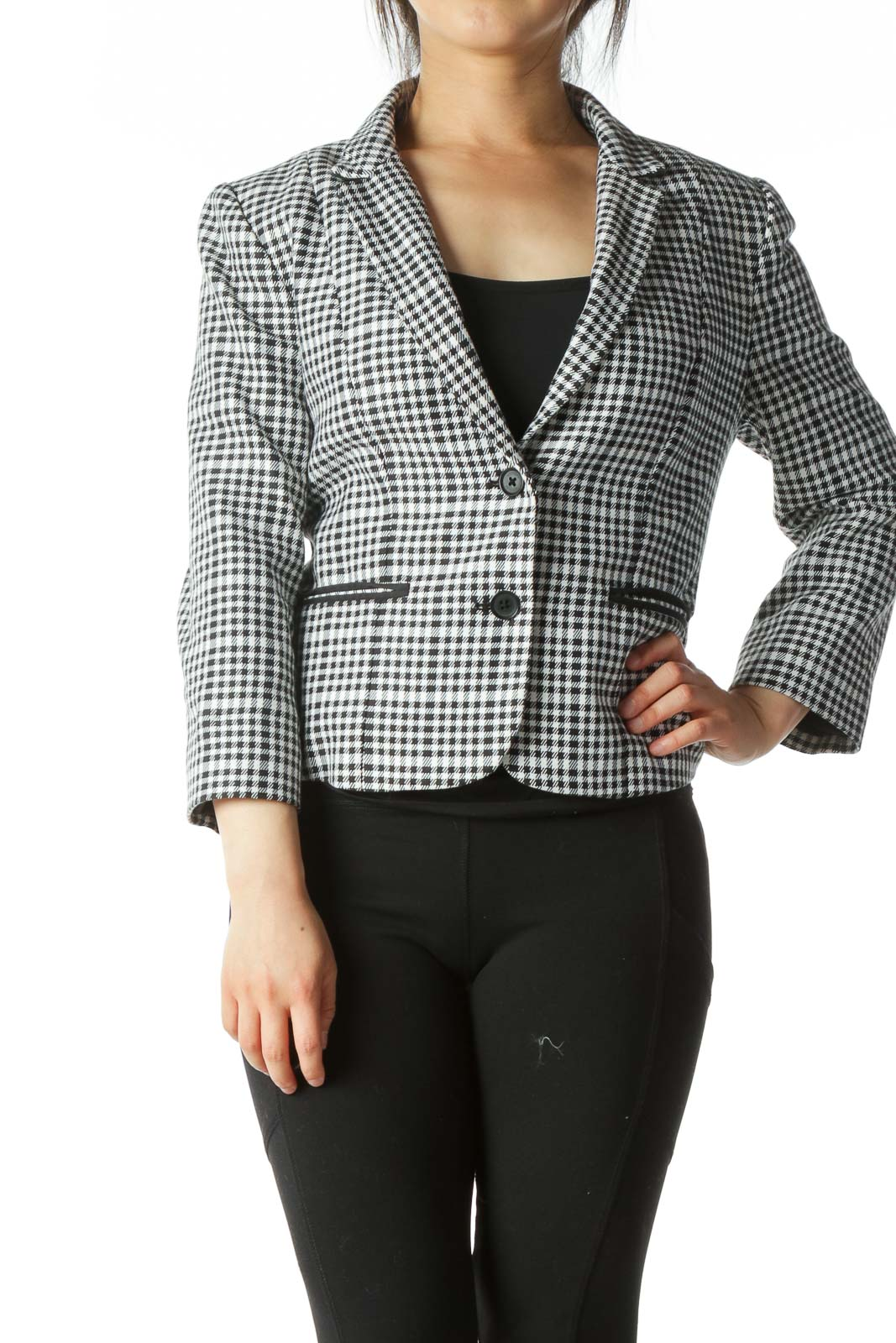 Black White Buttoned Patterned Blazer