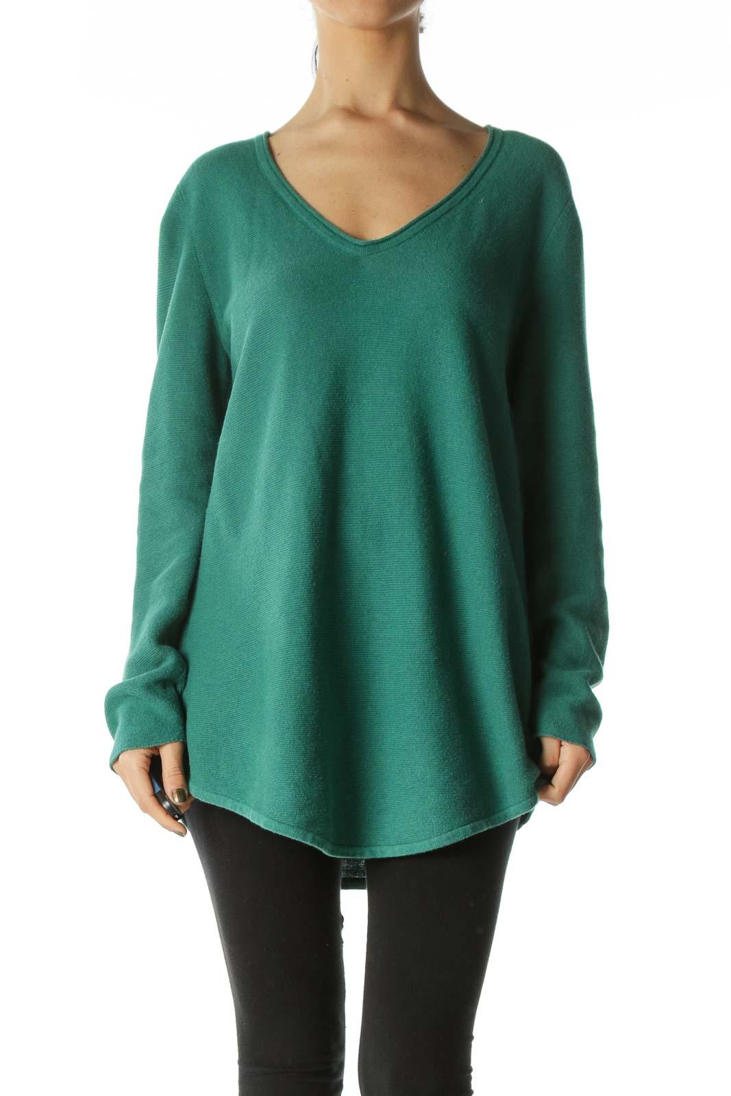 Green Long-Sleeve Knit V-Neck Top