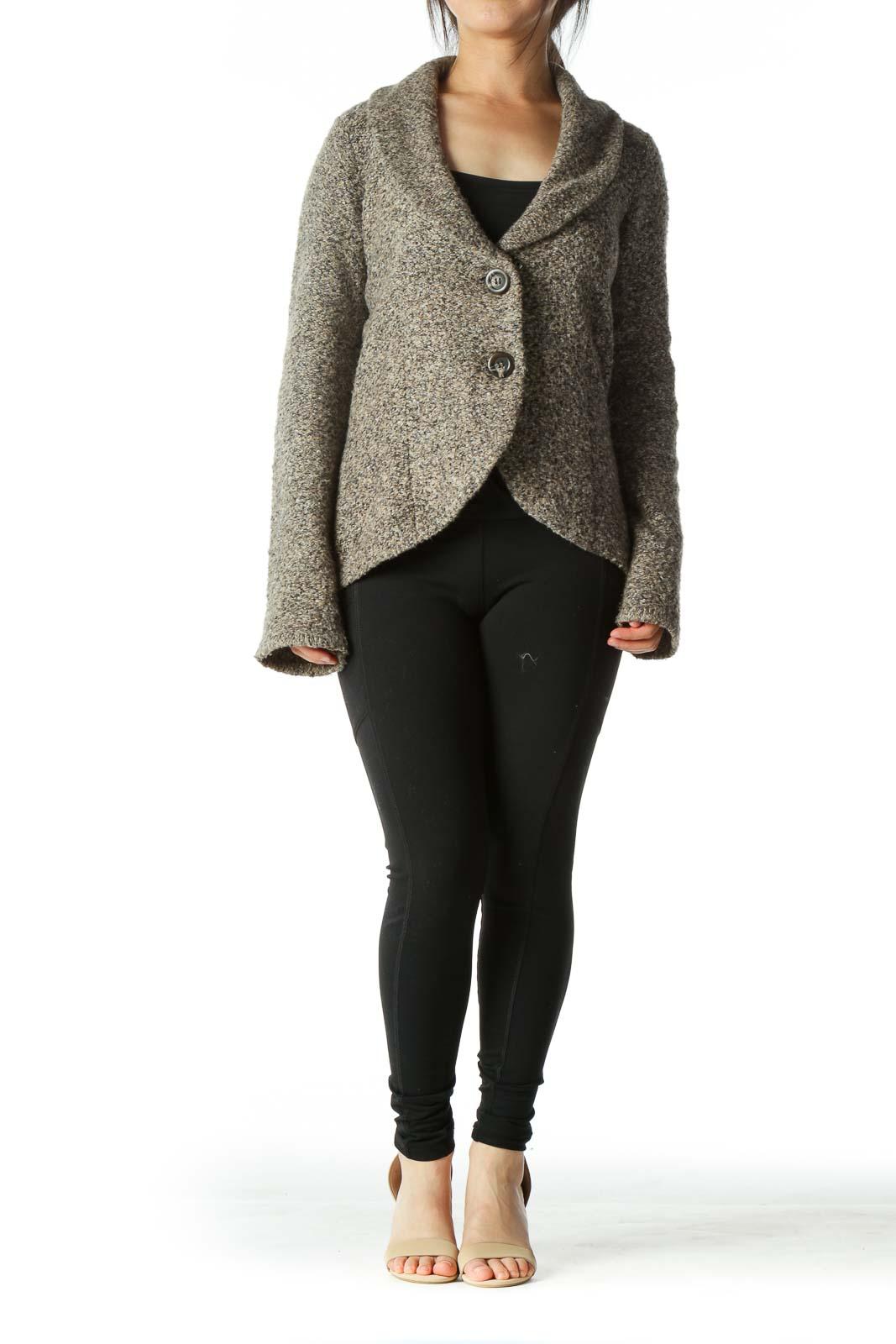 Gray Brown Button Crop Knit Cardigan