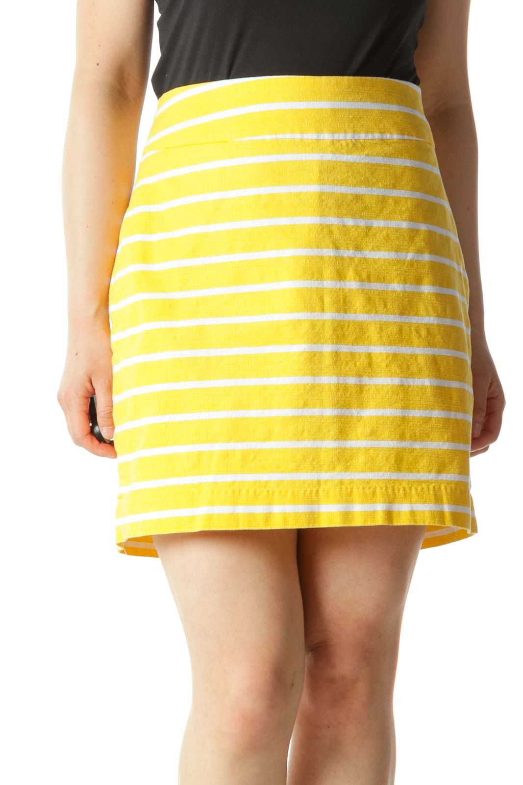 Yellow and White Striped A-Line Mini Skirt