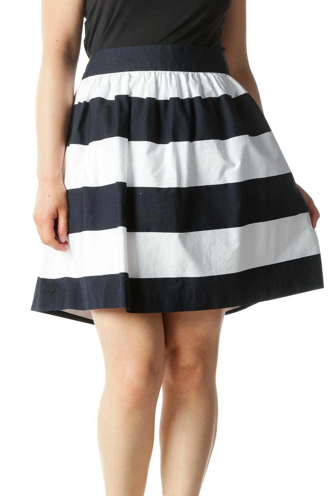 Navy Blue and White Striped A-Line Mini Skirt