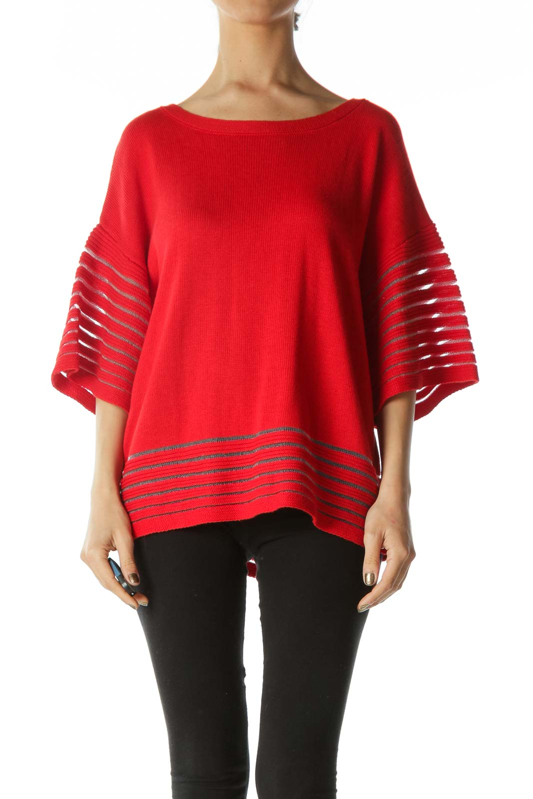 Bright Red Over-Sized Short-Sleeve Knit With Lace Contrast on Hem
