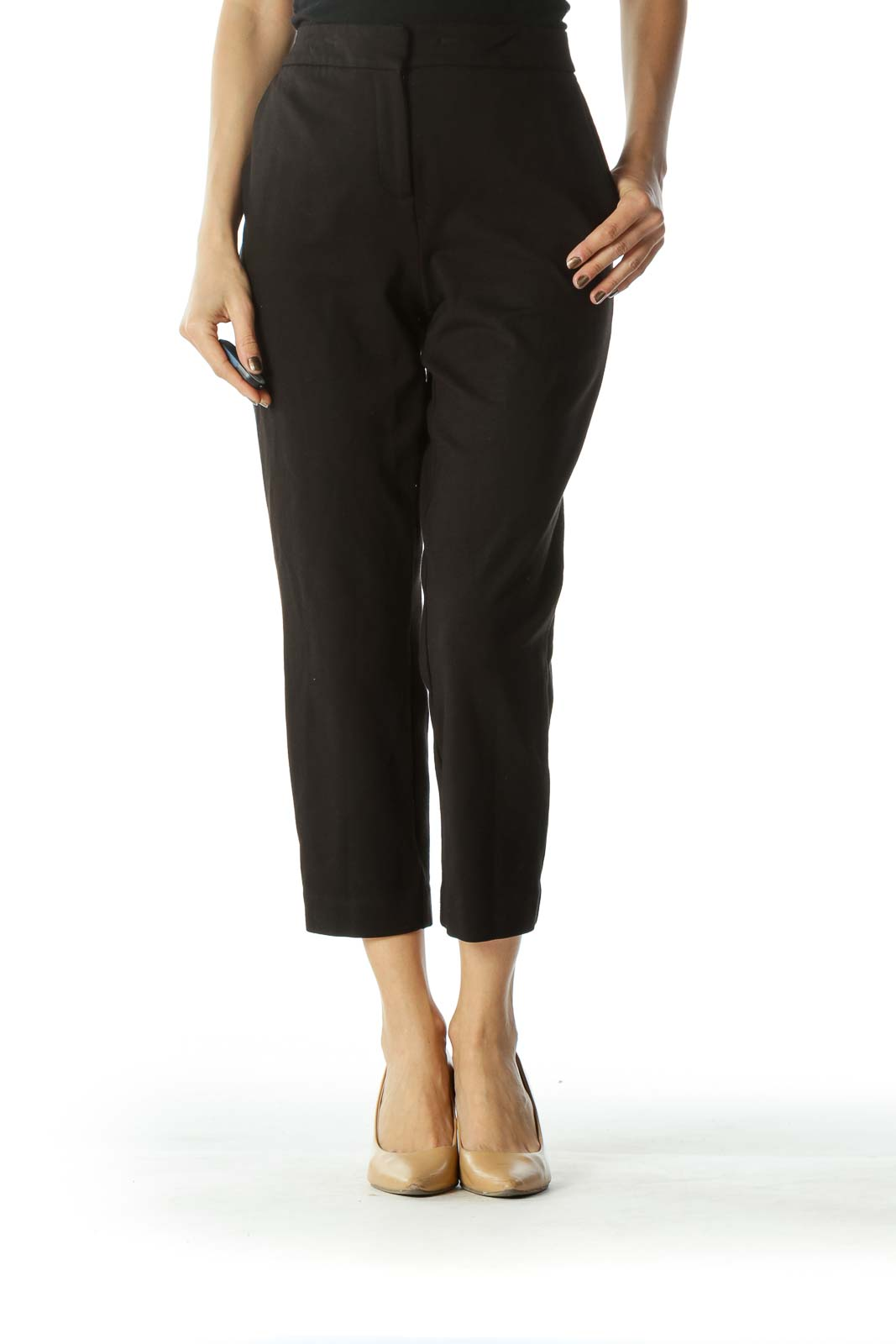 Black Slim-Fit Stretch Pants