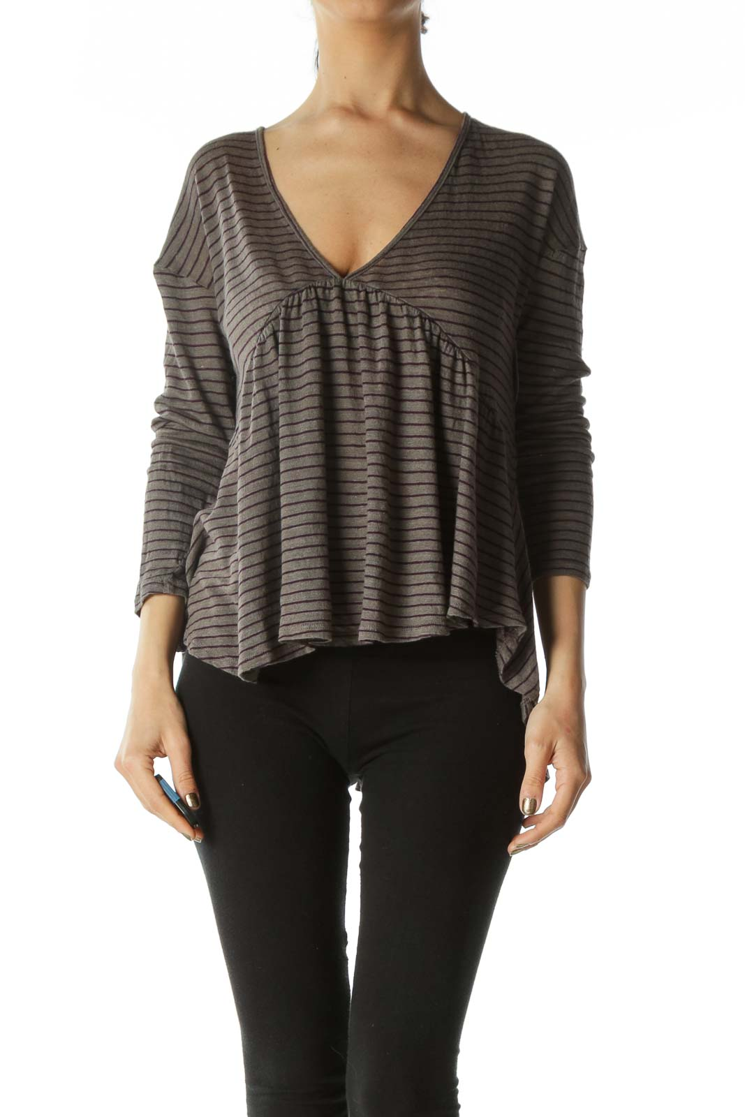 Gray and Purple Striped Empire-Waist Long-Sleeve Flare Top