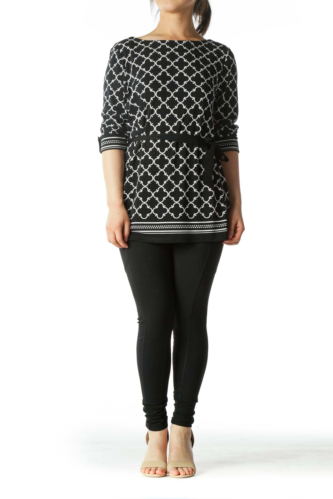 Black and White Moroccan Tile Print Tie-Waist Tunic