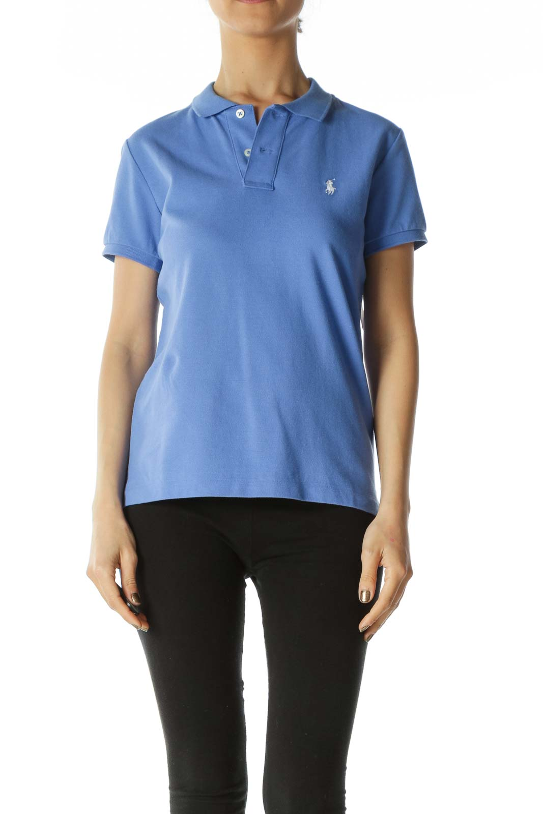 Cobalt Blue Logo Skinny Polo with Taped Sleeves