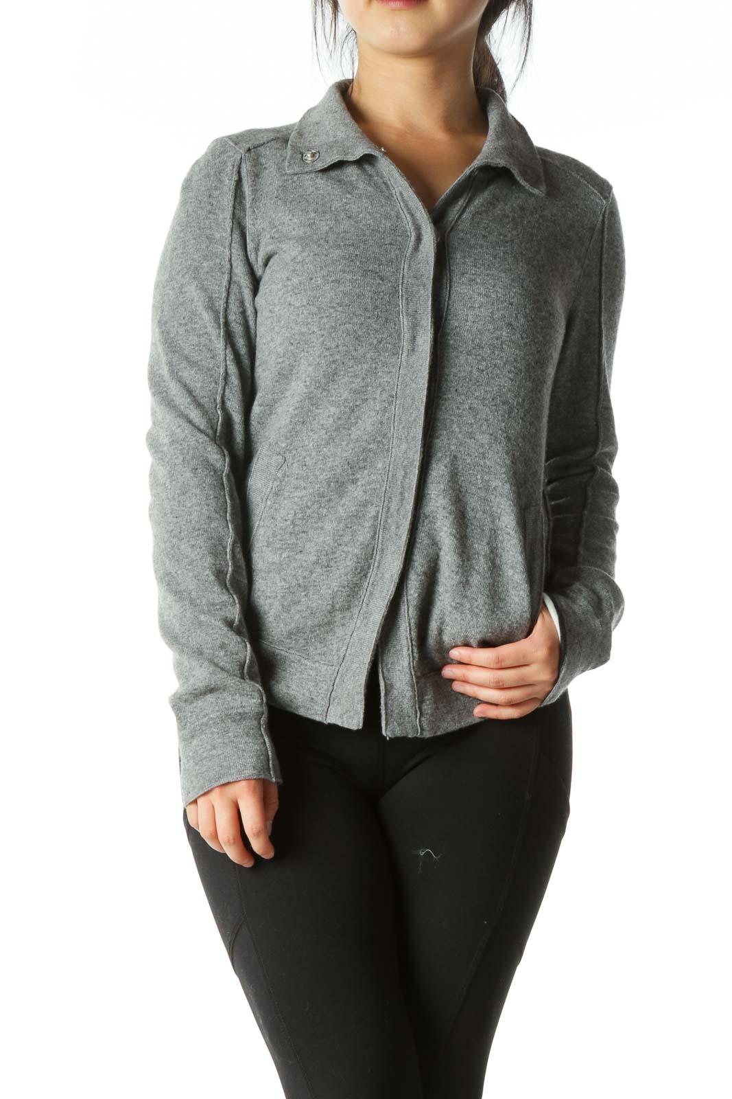 Gray Wool Button Cardigan