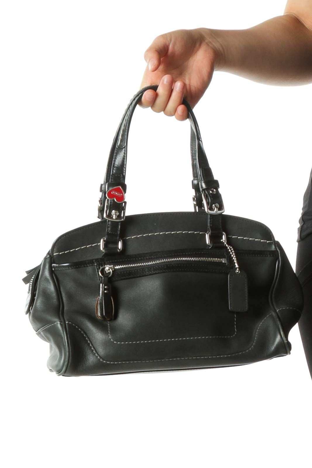 Black Leather Mini Handbag with Heart Pin Detail