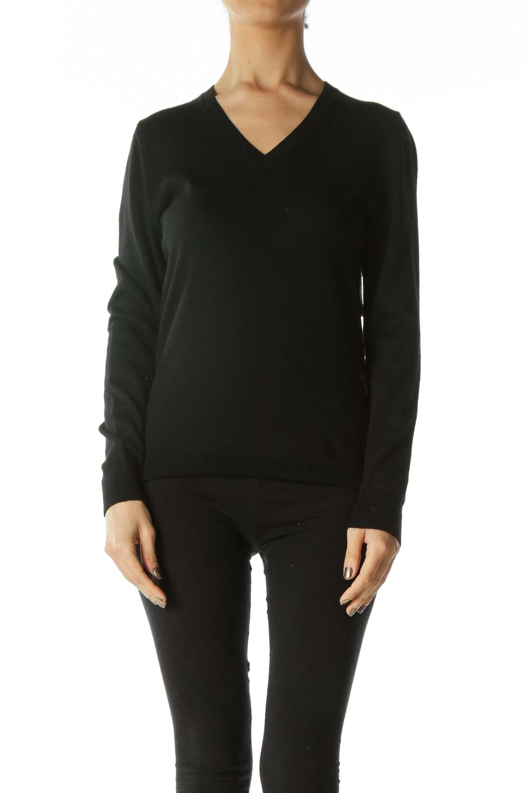 Black Extra Fine Merino Wool V-Neck Sweater