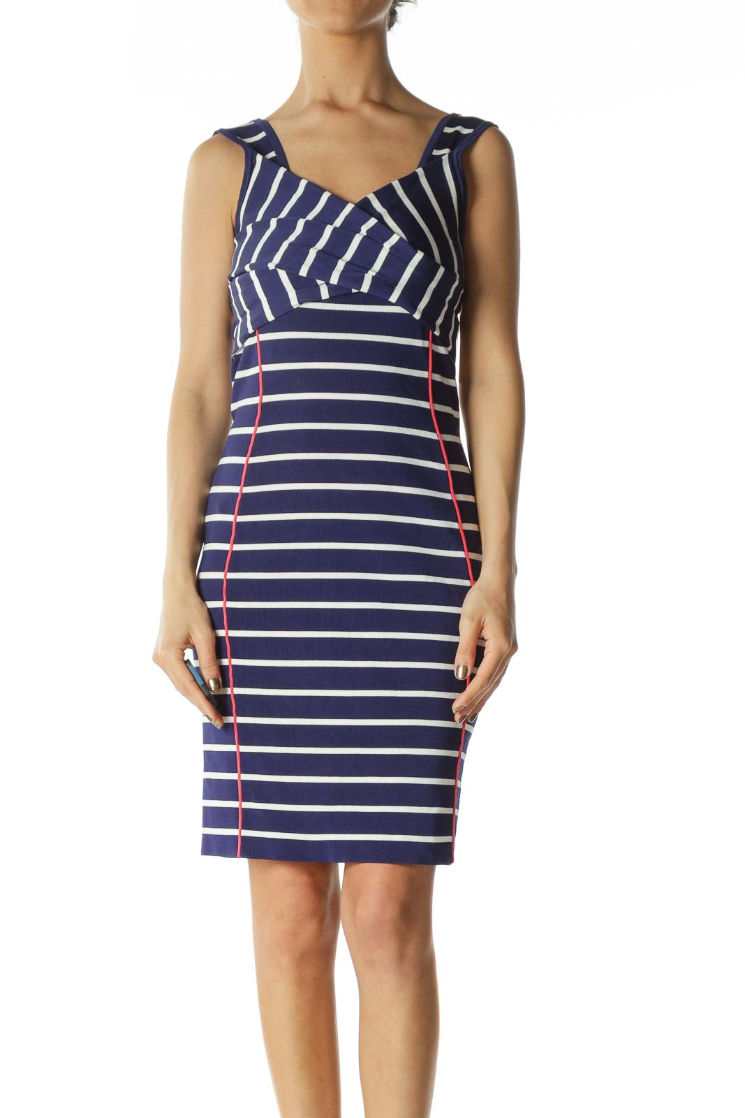 Blue/White/Pink Striped Wrap-Detail Stretch Dress