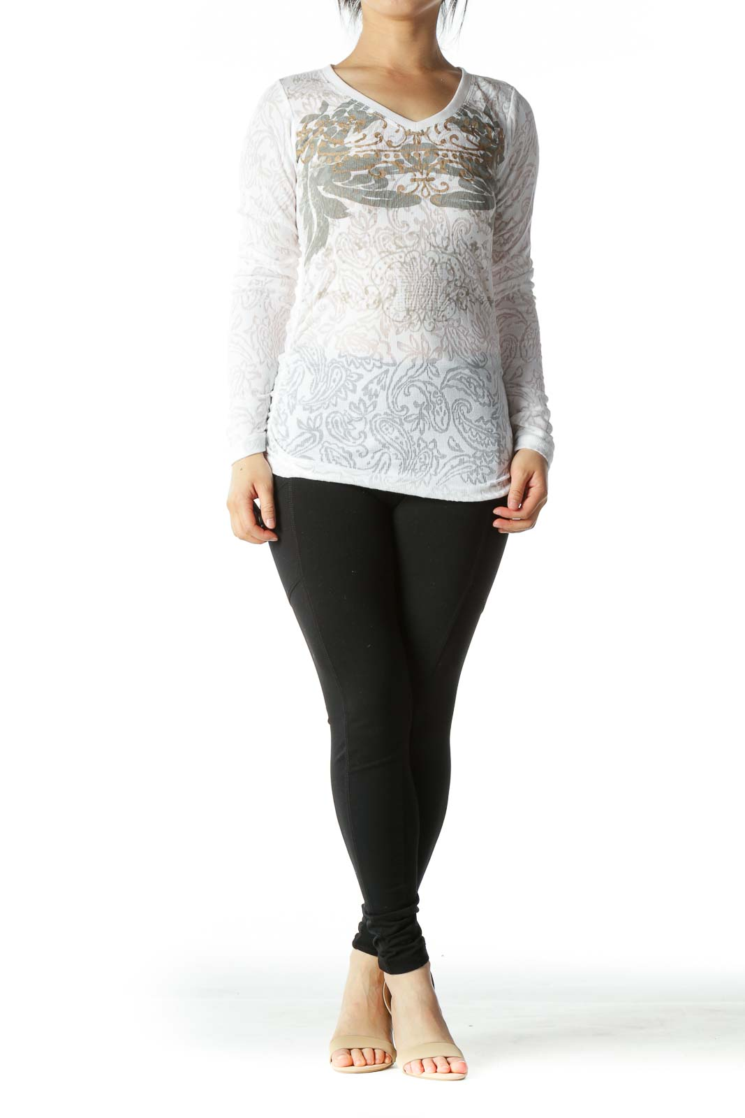 White Brown and Gray Graphic Waffle-Knit Scrunched Long-Sleeve V-Neck