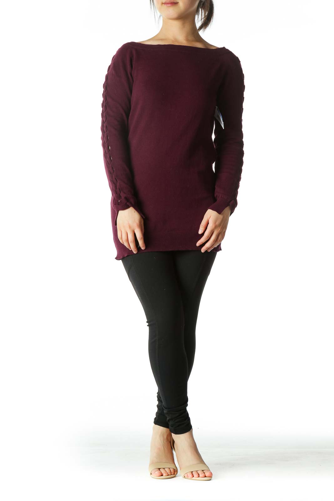 Deep Burgundy Crocheted-Sleeve Boat-Neck Sweater
