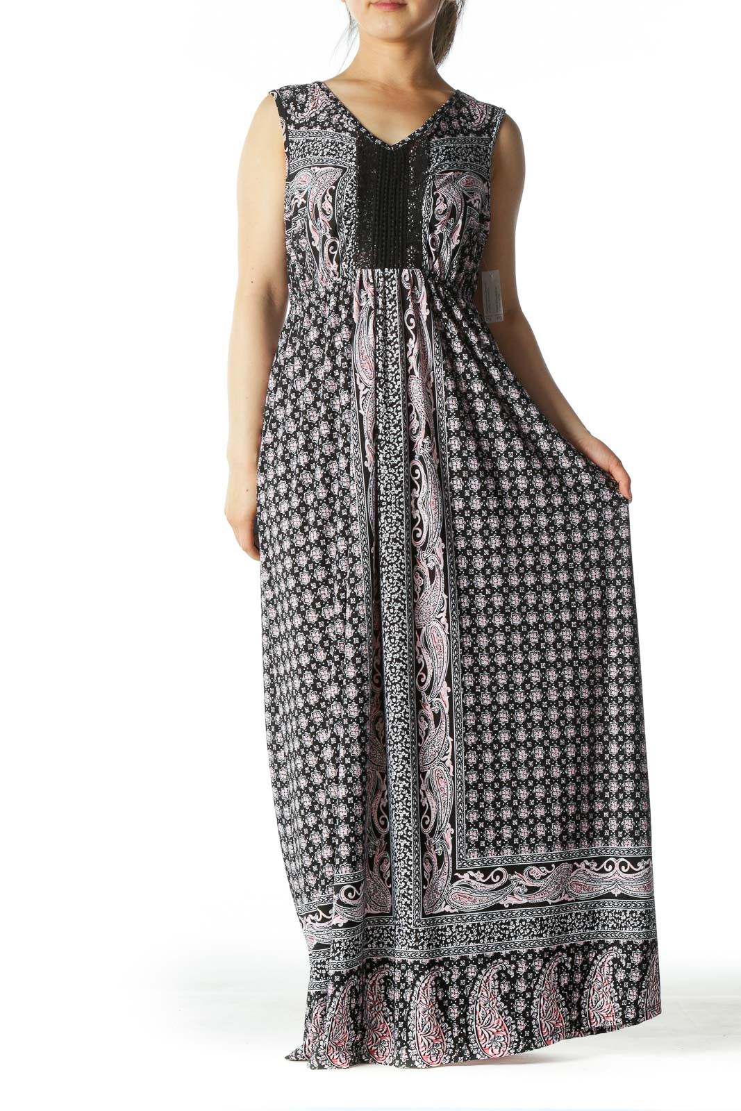 Black/White/Pink V-Neck Printed Stretch Maxi Dress