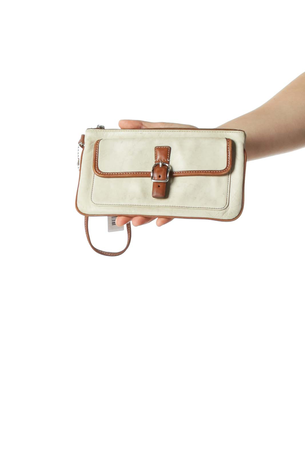 Cream Wristlet Clutch with Brown Lining